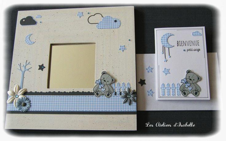 Cadre miroir. cadeau personnalisable pour anniversaire ou naissance. avec ses carte et enveloppe assorties. Thème ourson, nuages, étoiles, fleurs. coloris bleu ciel, blanc et gris.