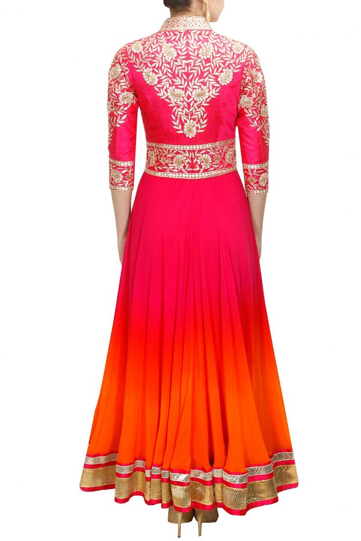 Pink and orange gotta embroidered anarkali set available only at Pernia's Pop-Up Shop.