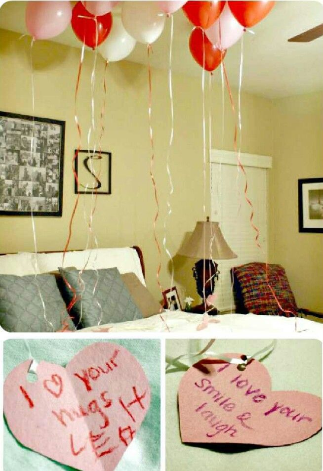 Cute valentine surprise for him anything pinterest for Room decor ideas for husband birthday