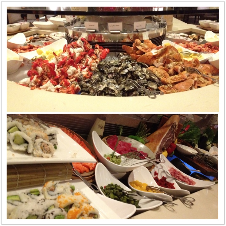 Seafood buffet, Marriott, Surfers Paradise. Amazing all you can eat selection of extensive fresh seafoods, salads, antipasto, Chinese, roasts, pizzas and so much more! $82 per person