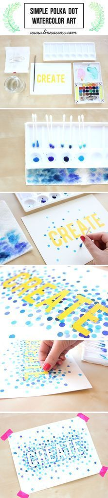 A great watercolors project for beginners - fun and colorful polka dot art!