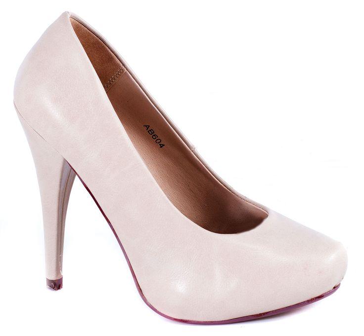 Pantofi cu toc - Pantofi dama bej AB604 Beige PU - Zibra