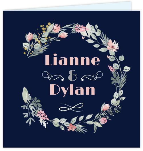 Chic en romantische trouwkaart met watercolor bloemen in roze en groene kleuren. De ondergrond is donkerblauw en ook zelf aan te passen! Gratis verzending in Nederland en België.