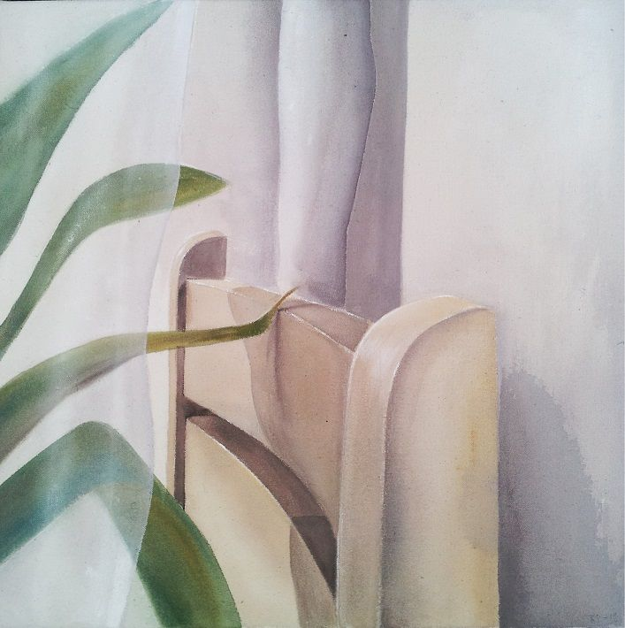 """yksityiskohta """"Sen jälkeen olin hiljaa"""" -kokonaisuudesta 2013, (detail from my Bachelor of Arts thesis) Acrylic, colored pencil on cotton duck"""