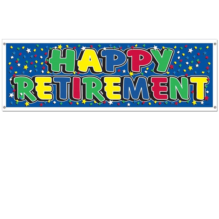 "Club Pack of 12 Multi-Colored Retirement Themed ""Happy Retirement"" Sign Banner Party Decorations 5', Blue"