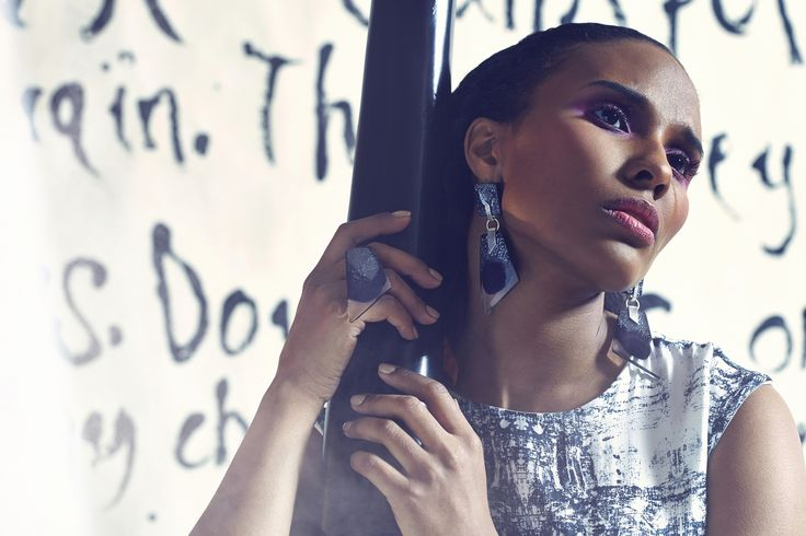 Glass earrings. Made by glass blower Joonas Laakso/Lasismi. Photographer Nana Simelius, Model Yacine Samb, Muah Kata Niemi Make Up and Hair