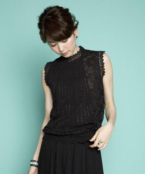 PLAIN CLOTHING(プレーンクロージング)の【PLAIN CLOTHING】ノースリーブレースブラウス(シャツ/ブラウス)|ブラック