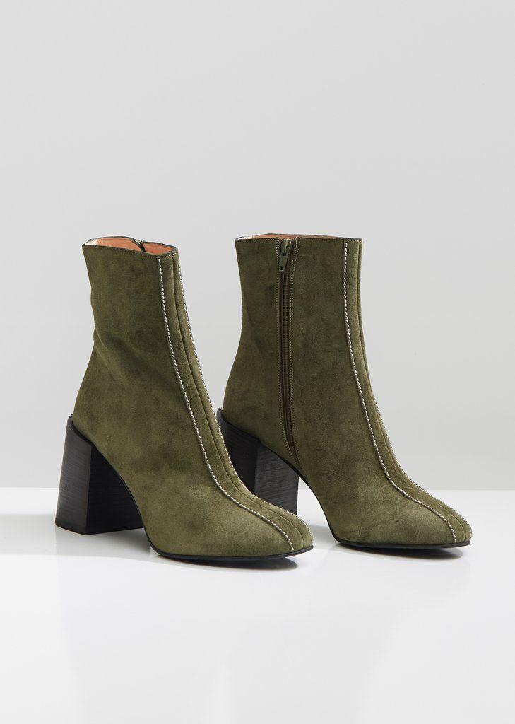 71a38b173 Saul Suede Stacked Heel Boots - EU 36 / Khaki Green | Women's Shoes ...