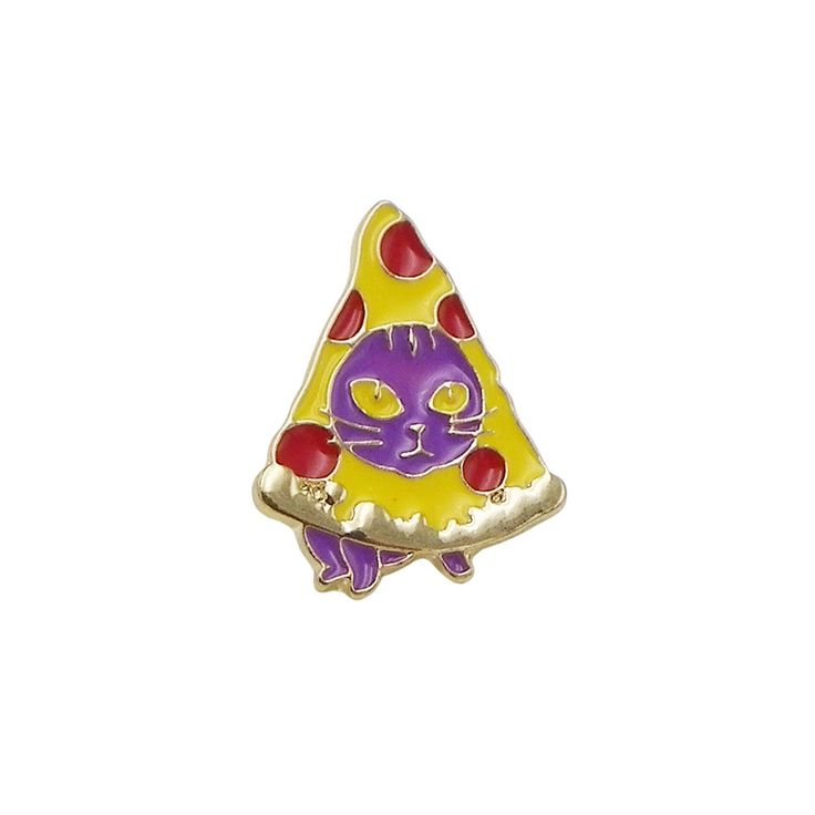 - Fun and trendy kitty cat enamel pin - Pin is gold tone with a post back - Great for backpacks, jackets, hats and laptop bags - Size: 1 inch long by 0.8 inch wide