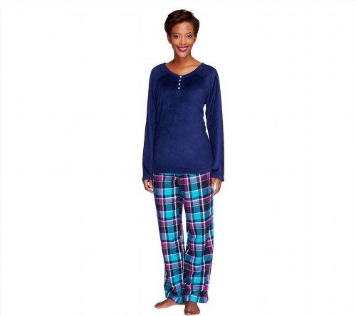 42.55$  Buy here - http://vihen.justgood.pw/vig/item.php?t=pl23p957162 - Carole Hochman Petite Pajama Set Fleece Top Flannel Pants Navy P1X NEW A256869 42.55$