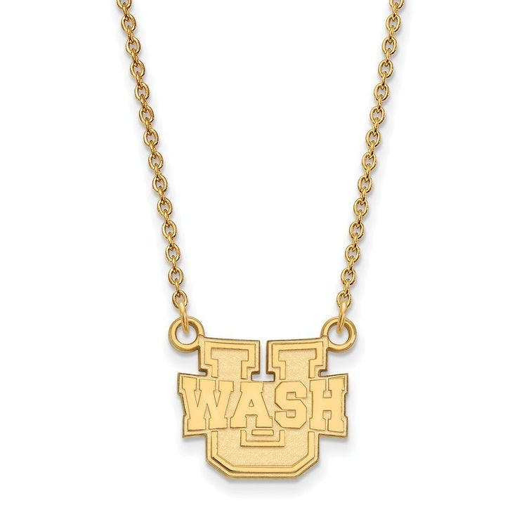Roy Rose Jewelry Gold over Sterling Washington University in St. Louis Small Pendant 18 inch Necklace. Officially Licensed - Finest Quality from Roy Rose Jewelry. Roy Rose Jewelry - Selling Online Since 1999. 30 Day Return - 100% Satisfaction Guaranteed. Manufactured in United States - production time 7 to 9 days. Free Jewelry Box Included.