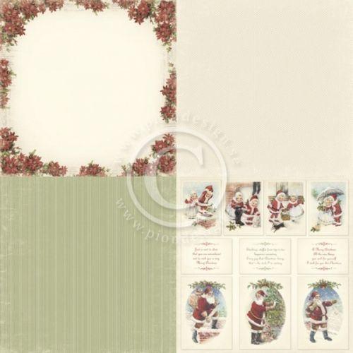 """PION DESIGN - CHRISTMAS IN NORWAY PD65046X6 - POINSETTIA TOSIDIG MØNSTERARK i serien """"CHRISTMAS IN NORWAY6X6"""" en kolleksjon fra PION DESIGN. Motivetmåler ca 15,2cm x 15,2cm.Christmas in Norway - a collection in a Christmas theme - Double sided papers - Paper size 6""""x6""""."""