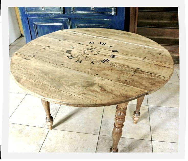 Table ronde ancienne: relooking horloge