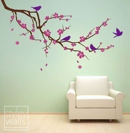 Cherry Blossom Branch and Birds -3 COLORS- LARGE - Vinyl Wall Decal
