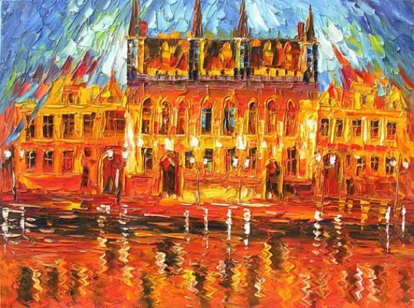 ORIGINAL Oil Painting The Old Castle 40x30 Cityscape Colorful Red Reflection Castle Old Textured Huge ART by Marchella