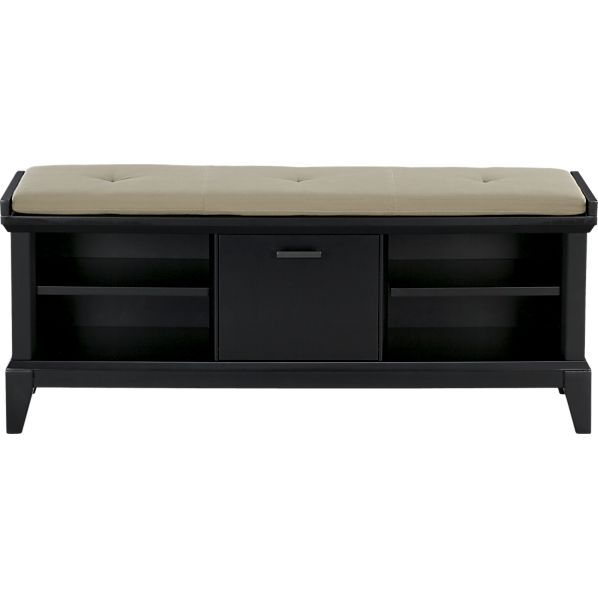Superior Paterson Black Bench With Wheat Cushion In Benches Crate And Barrel .