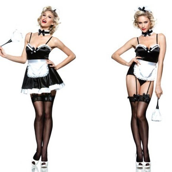 Seven til midnight costume L 6 piece French maid costume features a 4-way stretch microfiber bodysuit with princess seams, adjustable straps, ruffle detail, satin bows, and removable garters.  - Includes headpiece, choker, bodysuit, layered tricot skirt, ribbon tie apron with lace trim, and feather duster. New in Costume bag size L(can be used with or with out skirt) 90% poly 10% spandex Seven til midnight Intimates & Sleepwear Chemises & Slips