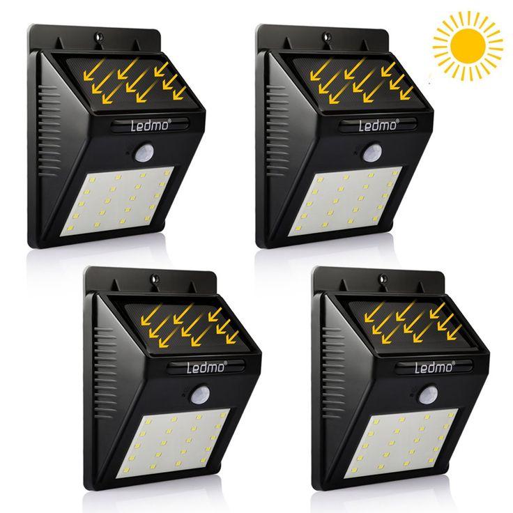 LEDMO Led Light Motion Sensor Outdoor, 20 LEDs Solar Motion Light, Motion Sensor Light 6000K- 4 Pack