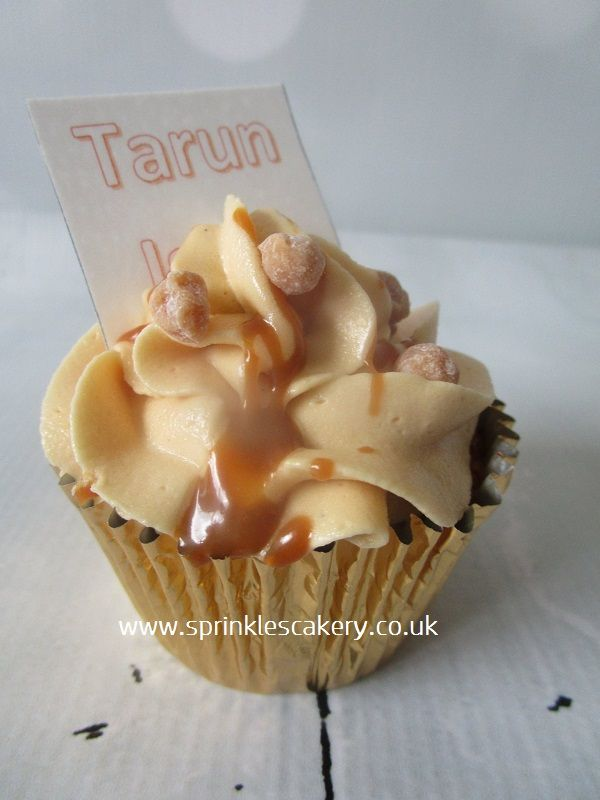 Salted Caramel Cupcakes with edible printed wafer paper personalisation.