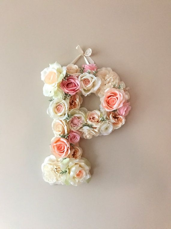 Wall decor vintage Flower Letters 18'' Floral by PaulettaStore