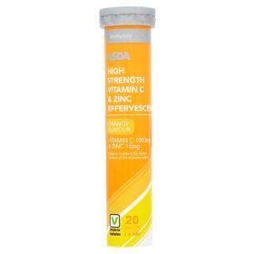 ASDA Immunity High Strength Vitamin C & Zinc Effervescent Orange Flavour Tablets 20 Pack