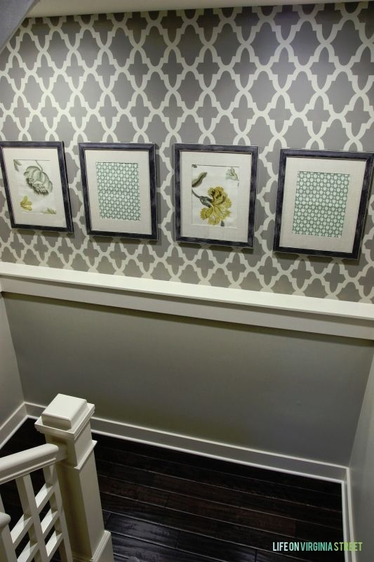 Staircase makeover with a stencil. Easy way to add personality to a hard-to-decorate area!