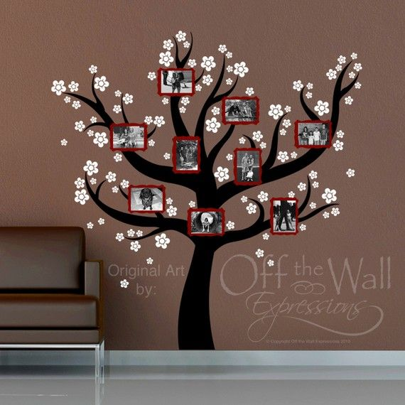 Real Family  Tree.   You could just pain the tree and use frames... I'm going to have to do this.
