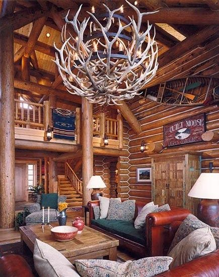 24 best images about log cabin interior on pinterest log Log cabin chandelier