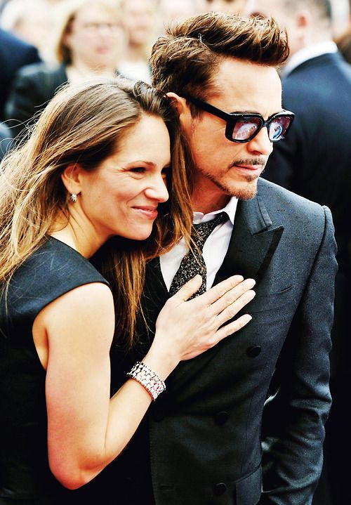 "Susan and Robert Downey Jr. at the red-carpet premiere of ""Iron Man 3"" in London, April 18, 2013."