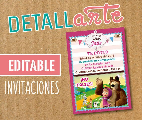 Invitación editable Masha y el oso / Masha And The Bear