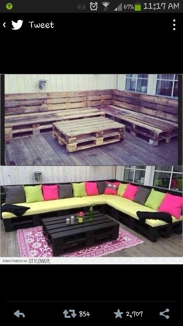 Pallet seating. Like, if I can't afford or find the perfect sofa, I could just get some of these crates, arrange them and throw on some cushions and VOILA