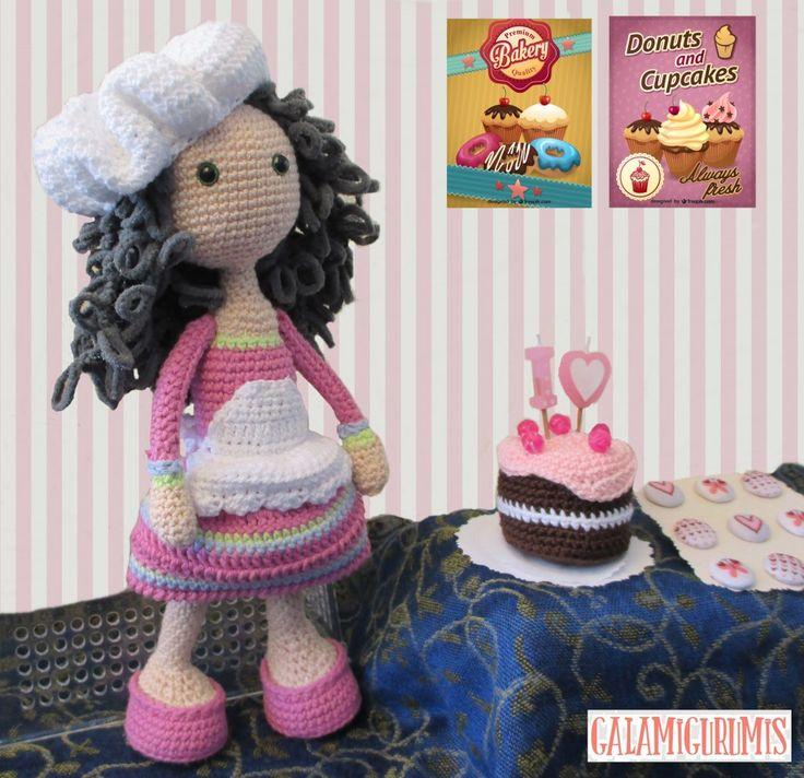Muñeca Pastelera Amigurumi - Patrón Gratis en Español aquí: http://www.galamigurumis.com/pastelera-repostera-version-amigurumi/
