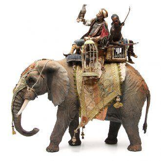 Elefante con Rey y siervo belén Angela Tripi 30 cm