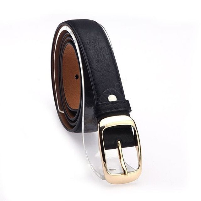 Fashion Girls Decorative Accessories Faux Leather Metal Buckle Straps Waistband