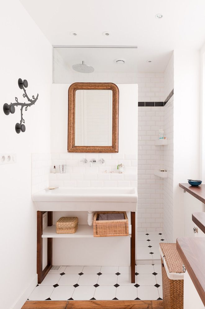 House Tour. Paris Loft. I love the sink but wouldn't want the pipes on show.
