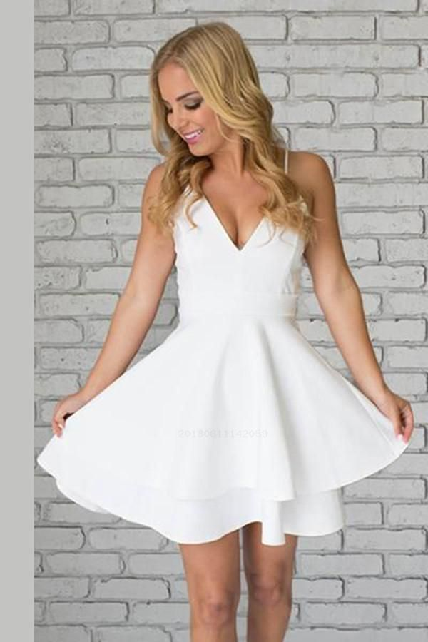 09901692e30 Customized Glorious Short, White, V Neck in 2019 | Cute dresses | White  homecoming dresses, Lace party dresses, Homecoming dresses