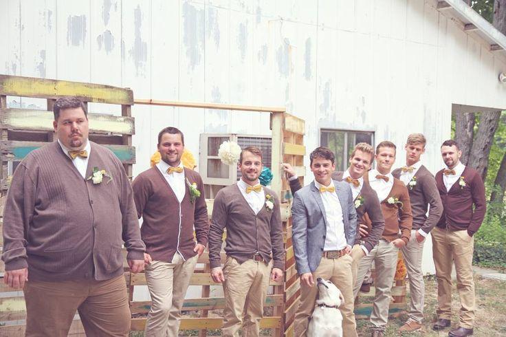 brown groomsmen outfits