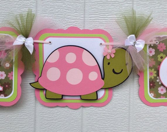 Turtle baby shower, turtle banner, baby shower banner, it's a girl banner, pink and green, etsy, handmade banner, nancysbannerboutique,