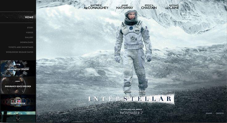 http://www.interstellarmovie.net/ Het beeld dat je te zien krijgt na het sluiten van de trailer, is aantrekkelijk. Je kan veel informatie terugvinden op de site, wat ook duidelijk afgebeeld is in de links.