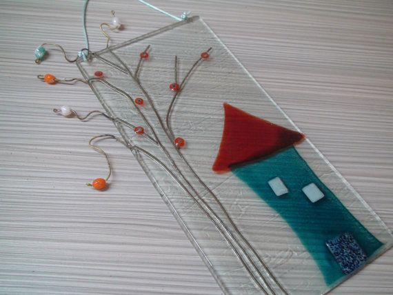 House with a beaded tree. Fused glass painting, wall hanging on Etsy, £35.24