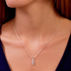 STERLING SILVER PENDANT, ZIRCONIA, S-SHAPED