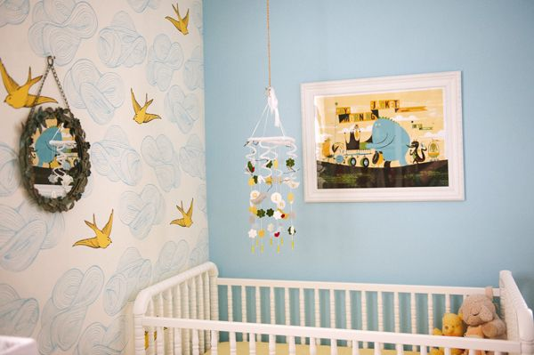 We love a wallpaper accent wall in the nursery. #modernnursery #summerinthecity: Nurseries Inspiration, Birds Wallpapers, Non Traditional Nurseries, Cribs Details, Future Niecenephew, Projects Nurseries, Nurseries Design, Nurseries Ideas, Glam Nurseries