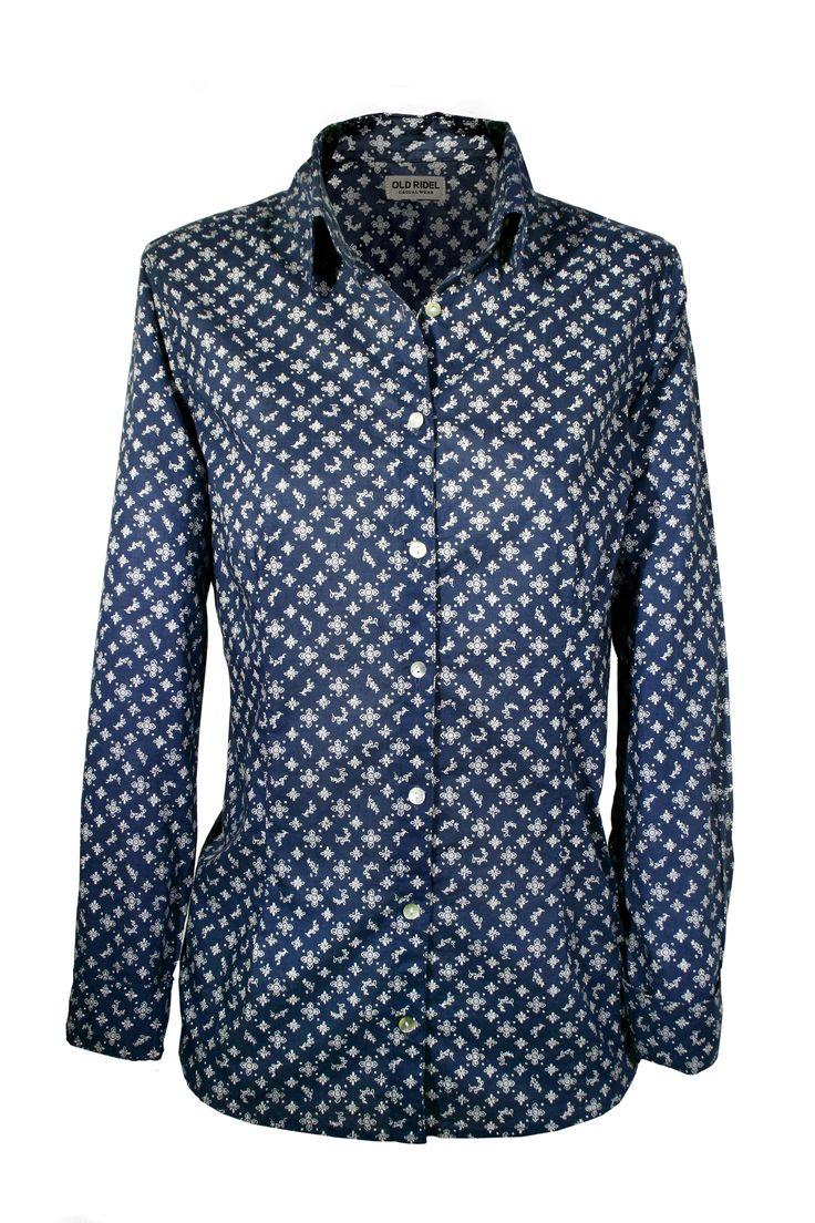 camisa mujer azul marino estampada  www.oldridel.com