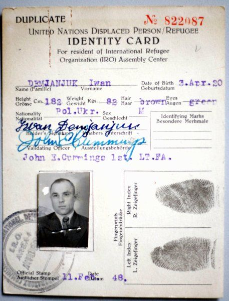An archived copy of a UN identity card issued to John Demjanjuk and declaring him to be a Displaced Person. Ukrainian-born Demjanjuk was convicted in 2011 by a German court for his role in killing 28,000 Jews as a guard at the Sobibor death camp in during World War Two. He died in March 2012 in a care home in Germany.