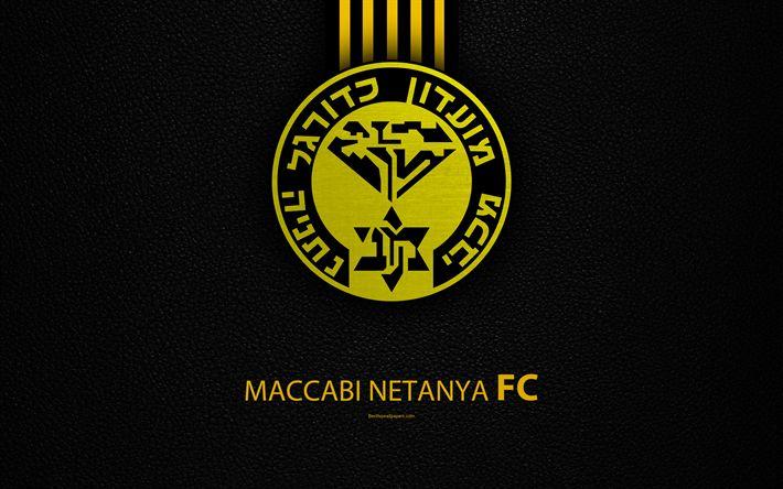 Download wallpapers Maccabi Netanya FC, 4k, football, Netanya logo, emblem, leather texture, Israeli football club, Ligat HaAl, Netanya, Israel, Israeli Premier League