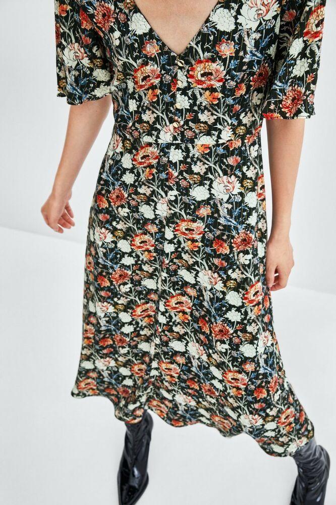 Nwt Zara Floral Dress With Buttons Midi Size Xxl Ref 8002 403 Zara Vintage Casual Zara Floral Dress Womens Midi Dresses Dresses
