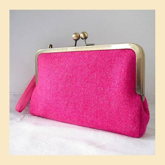 Harris Tweed bag, wristlet, pink clutch bag