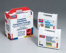 25 Person package (exceeds OSHA- meets ANSI standards) - one ea. of 223-AN- 216-O w/ CPR one-way valve faceshie - This Compliance Package addresses four compliance issues: first aid, bloodborne pathogens, personal protection, and CPR. Plastic kits are easily portable or wall-mountable.Package Includes: (1 ) CPR one-way valve faceshield, latex free (1 ) 223-ANThis 105-piece, 25-person bulk kit meets all OSHA and ANSI standards, and is designed for use in small offices, vehicles and work…