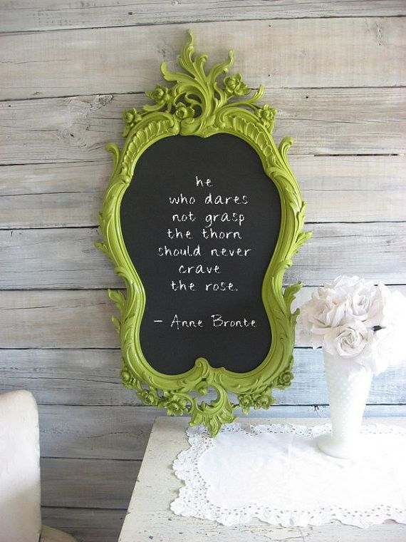 Make #DIY Chalkboard Paint Wall Art! Upcycle an old mirror and paint the surface. Easy!