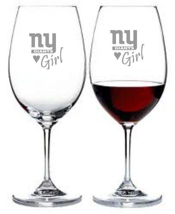 New York Giants Girl Set of 2 Wine Glasses by WulfCreekDesigns, $29.95